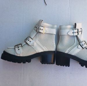 White leather buckle Jeffrey Campbell boots NEW